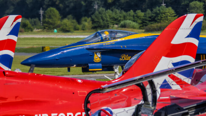 US Navy Blue Angels and RAF Red Arrows at the 2019 Spirit of St. Louis Air Show & STEM Expo. Photo credit: Ken Cheung